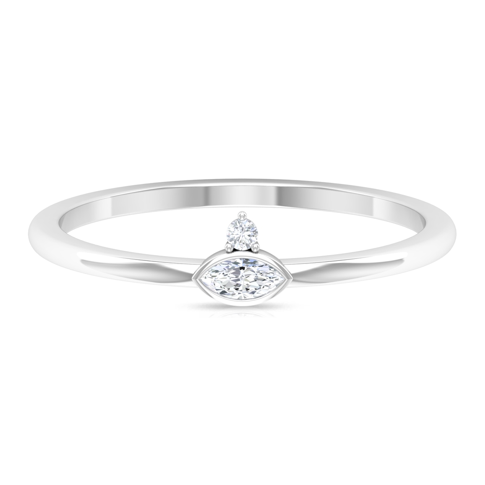 Prong Set Marquise and Round Cut Diamond Dainty Ring