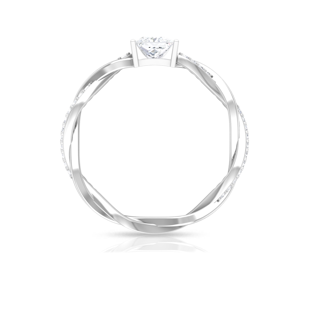 4.5 MM Princess Cut Diamond Solitaire Ring in Bar Set and Braided Pattern