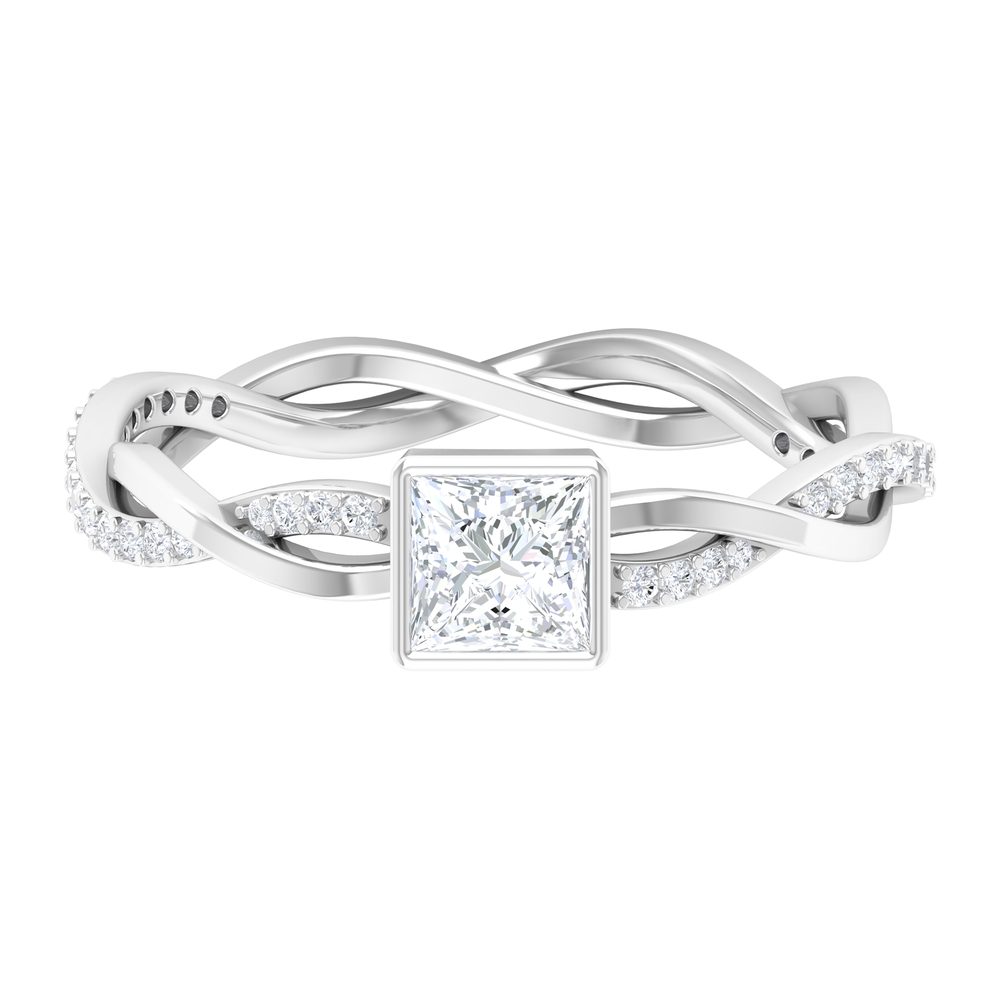 3/4 CT Princess Cut Solitaire Diamond Braided Ring in Bezel Setting