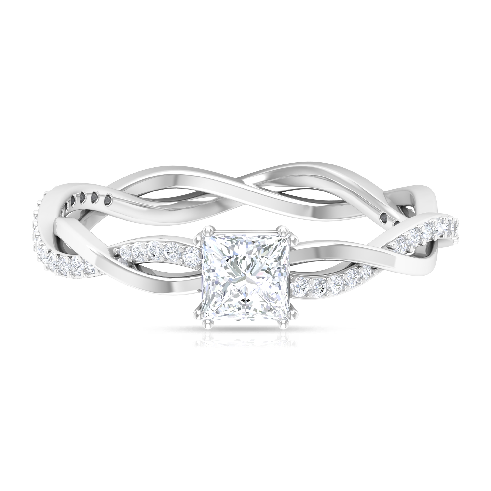 3/4 CT Princess Cut Solitaire Diamond Braided Ring in Double Prong Setting