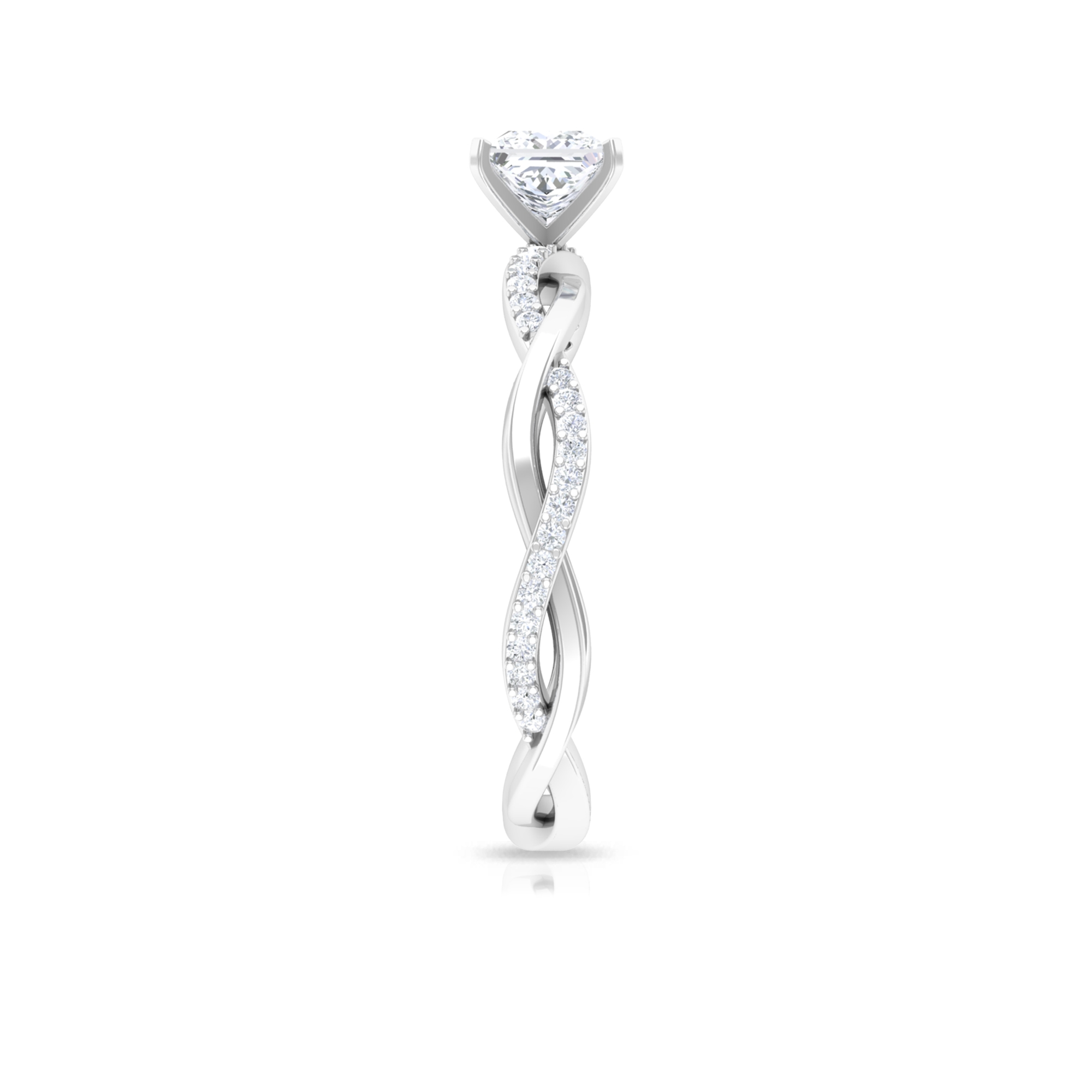 3/4 CT Princess Cut Solitaire Diamond Braided Ring in Square Prong Setting