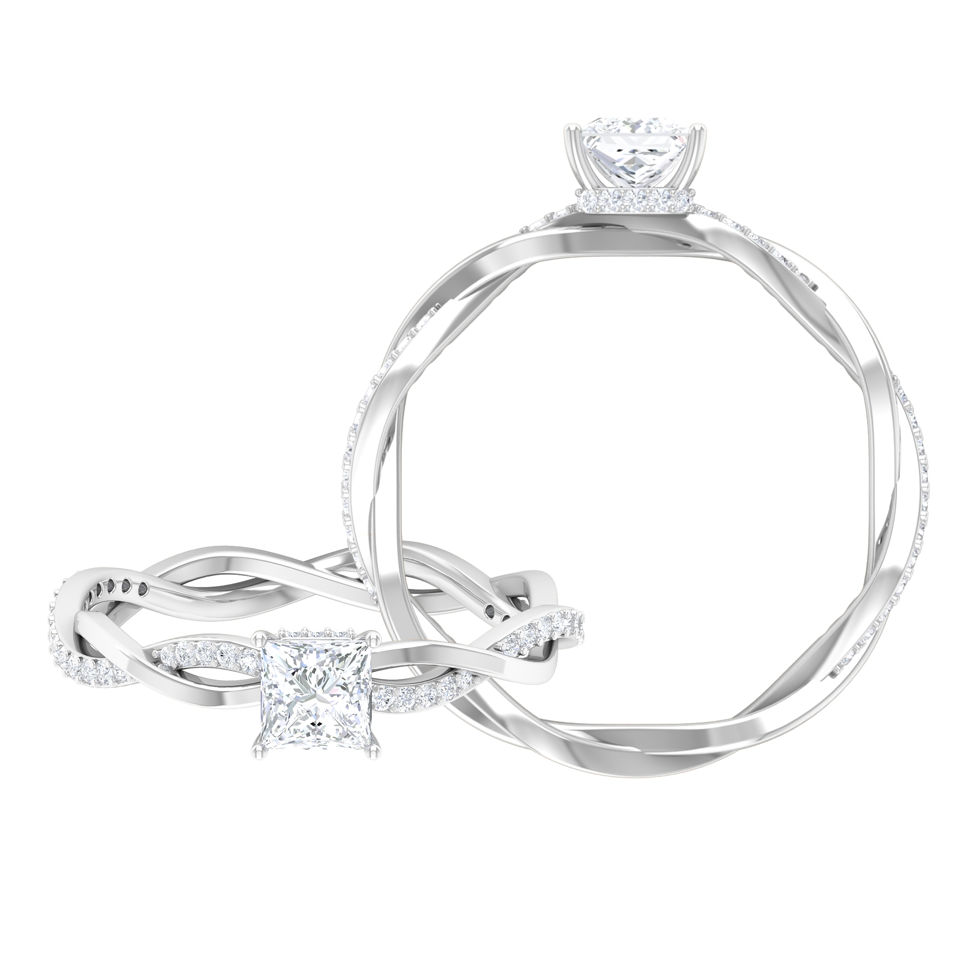 3/4 CT Princess Cut Solitaire Diamond Braided Ring with Hidden Halo