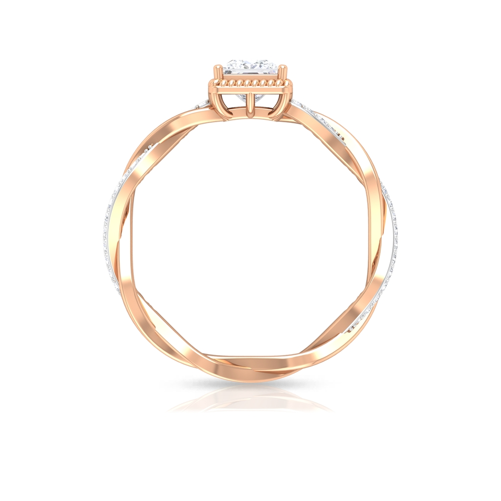 3/4 CT Princess Cut Solitaire Diamond Braided Ring with Rope Frame