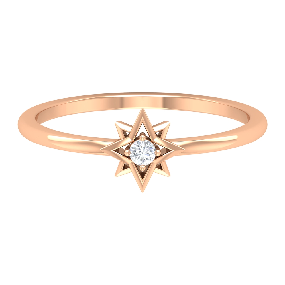 Diamond and Gold Star Ring in 4 Prong Setting