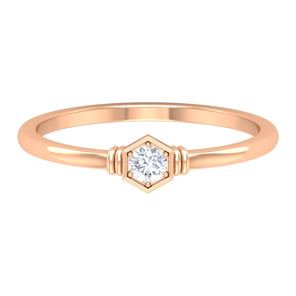 Solitaire Diamond Geometric Ring in 6 Prong Setting