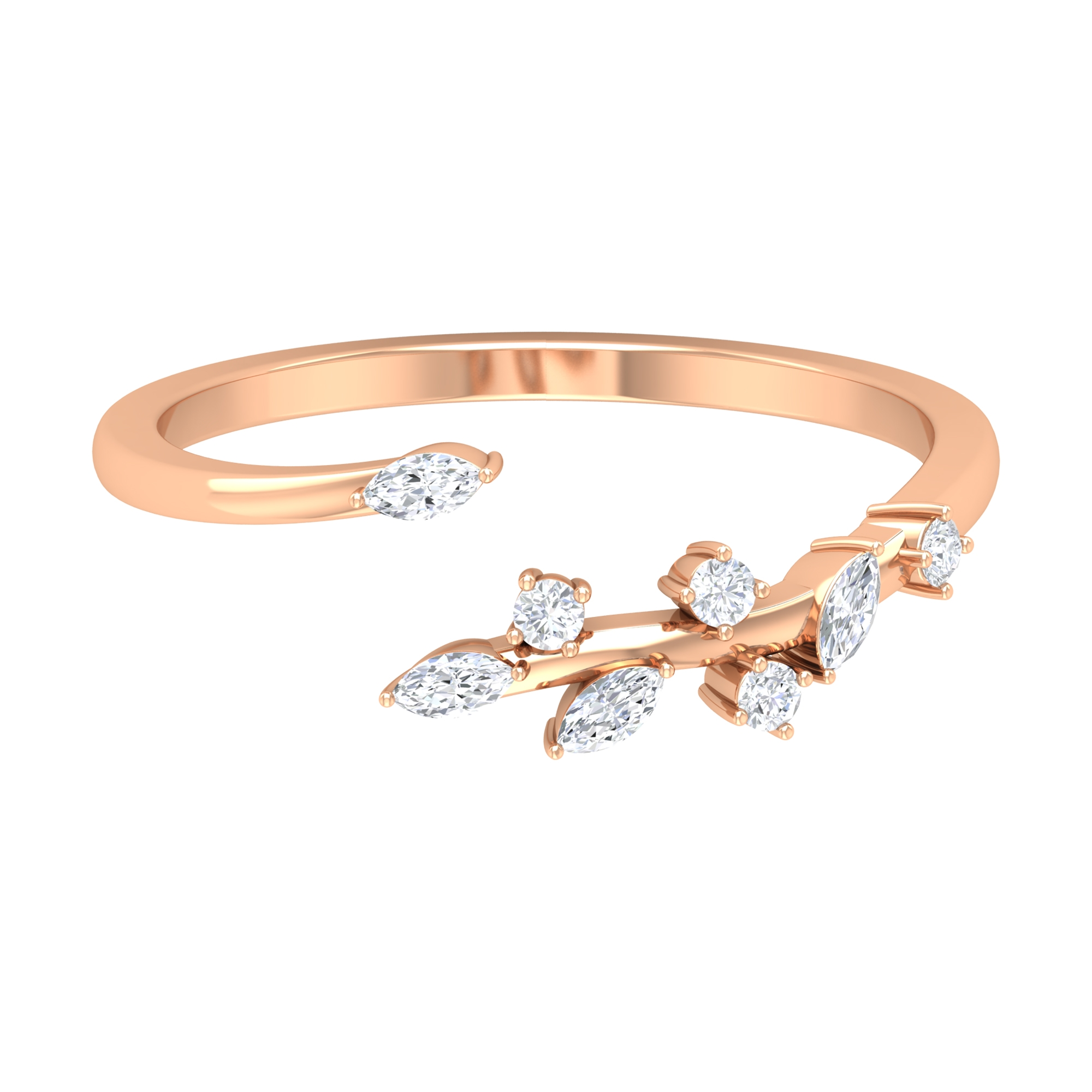 Marquise Shape Diamond Leaf Wrap Ring for Women