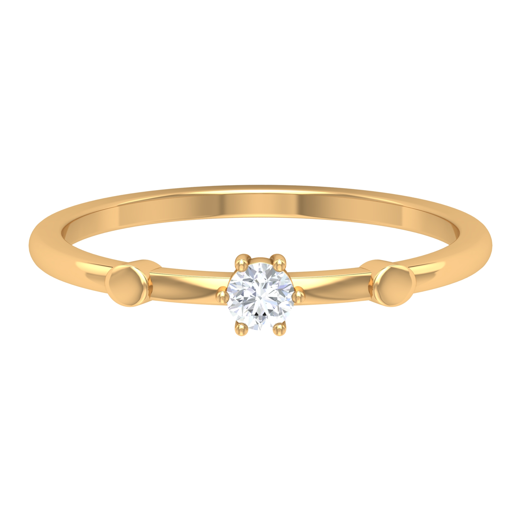 Solitaire Diamond Dainty Ring in 6 Prong Setting