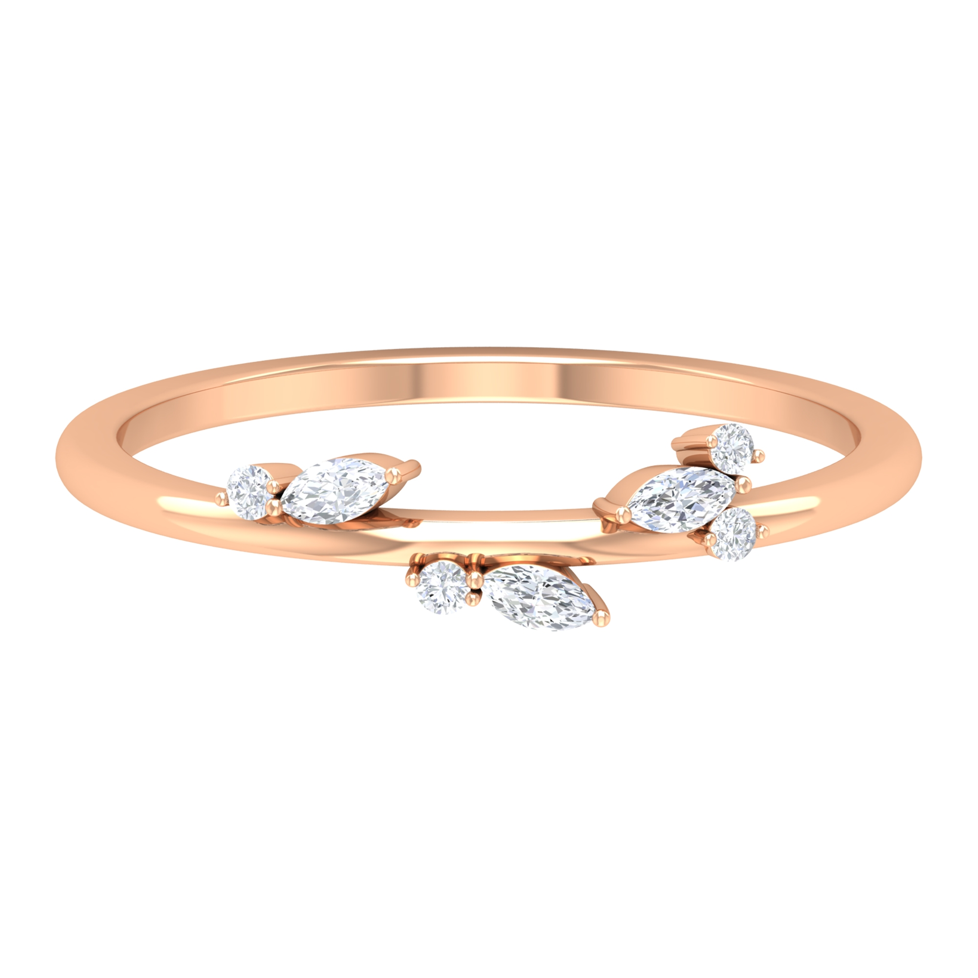 Marquise Cut Diamond Leaf Ring for Women