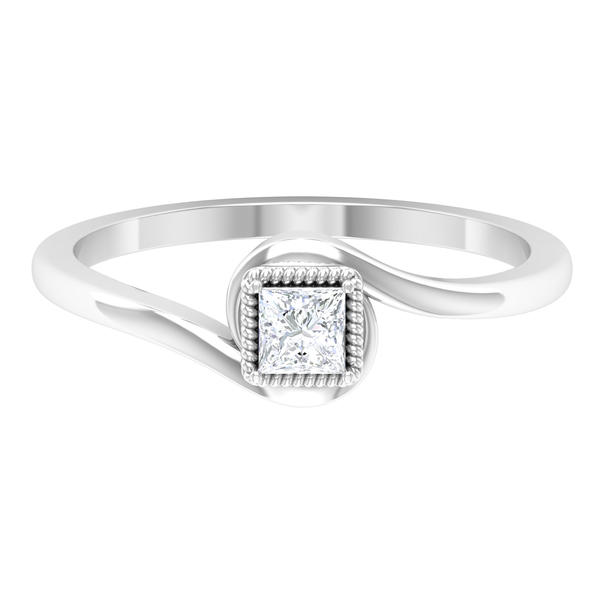 1/4 CT Princess Cut Diamond Solitaire Ring in Bypass Shank with Rope Frame