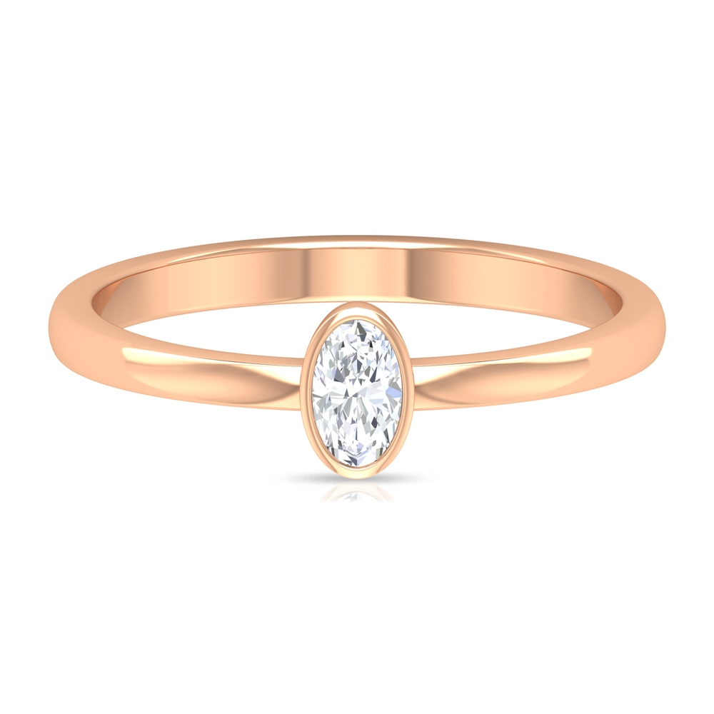 1/4 CT Oval Shape Diamond Solitaire Ring in Bezel Setting