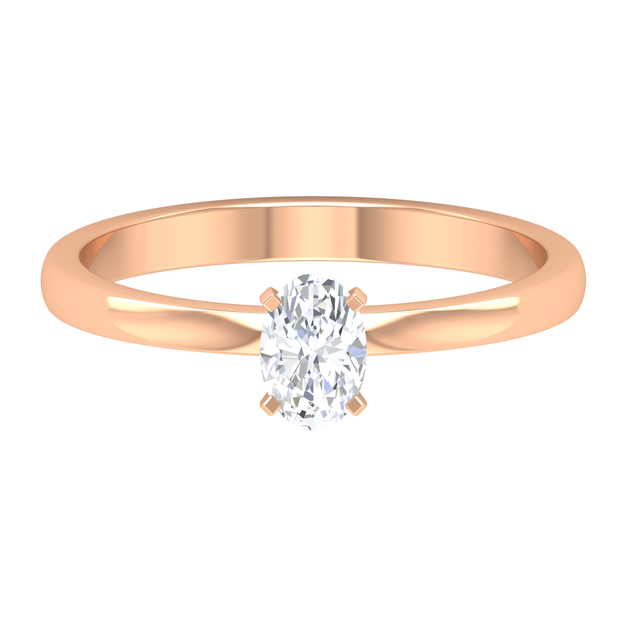 4X6 MM Oval Cut Solitaire Diamond Ring in Peg Head Set