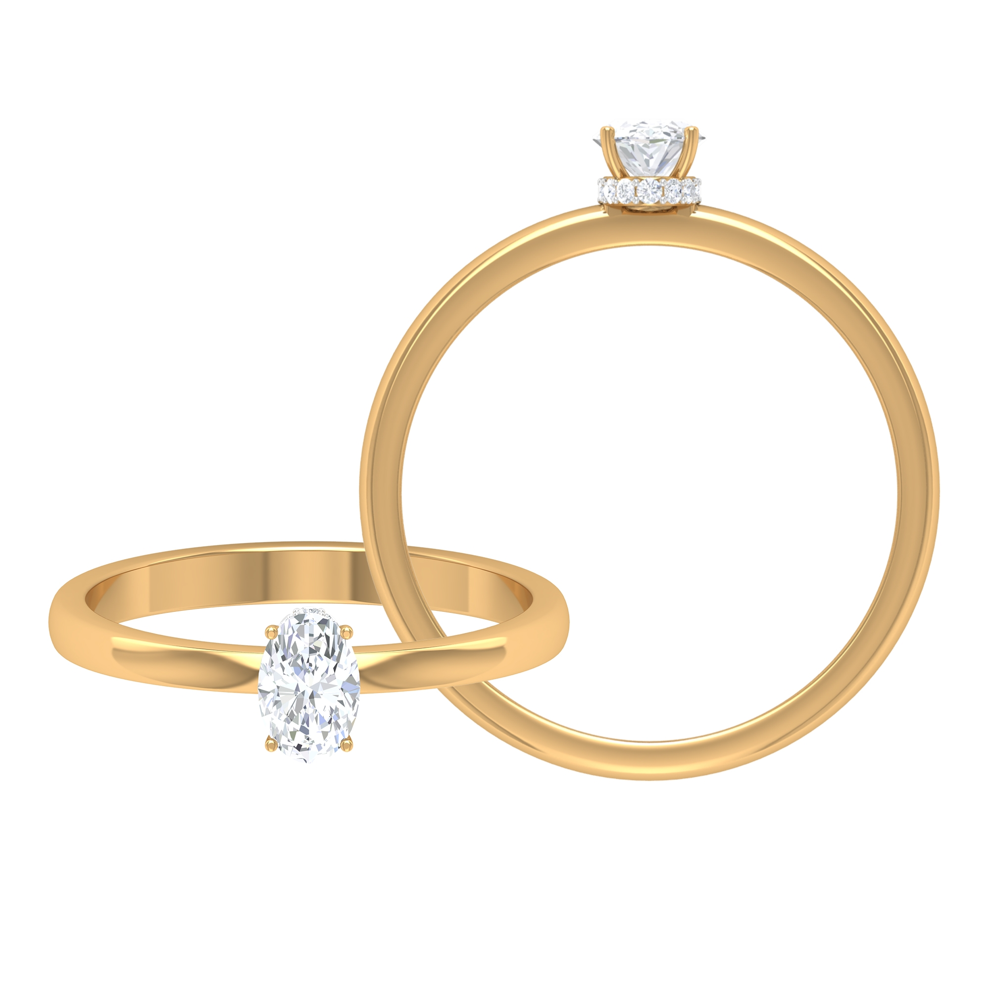 Four Prong Set 4X6 MM Oval Cut Diamond Solitaire Ring in Hidden Halo Style