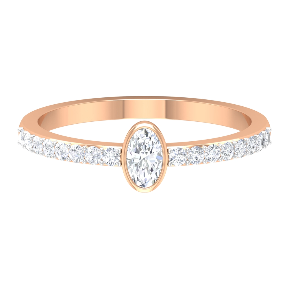 1/2 CT Oval Shape Solitaire Diamond Ring in Bezel Setting with Surface Prong Set