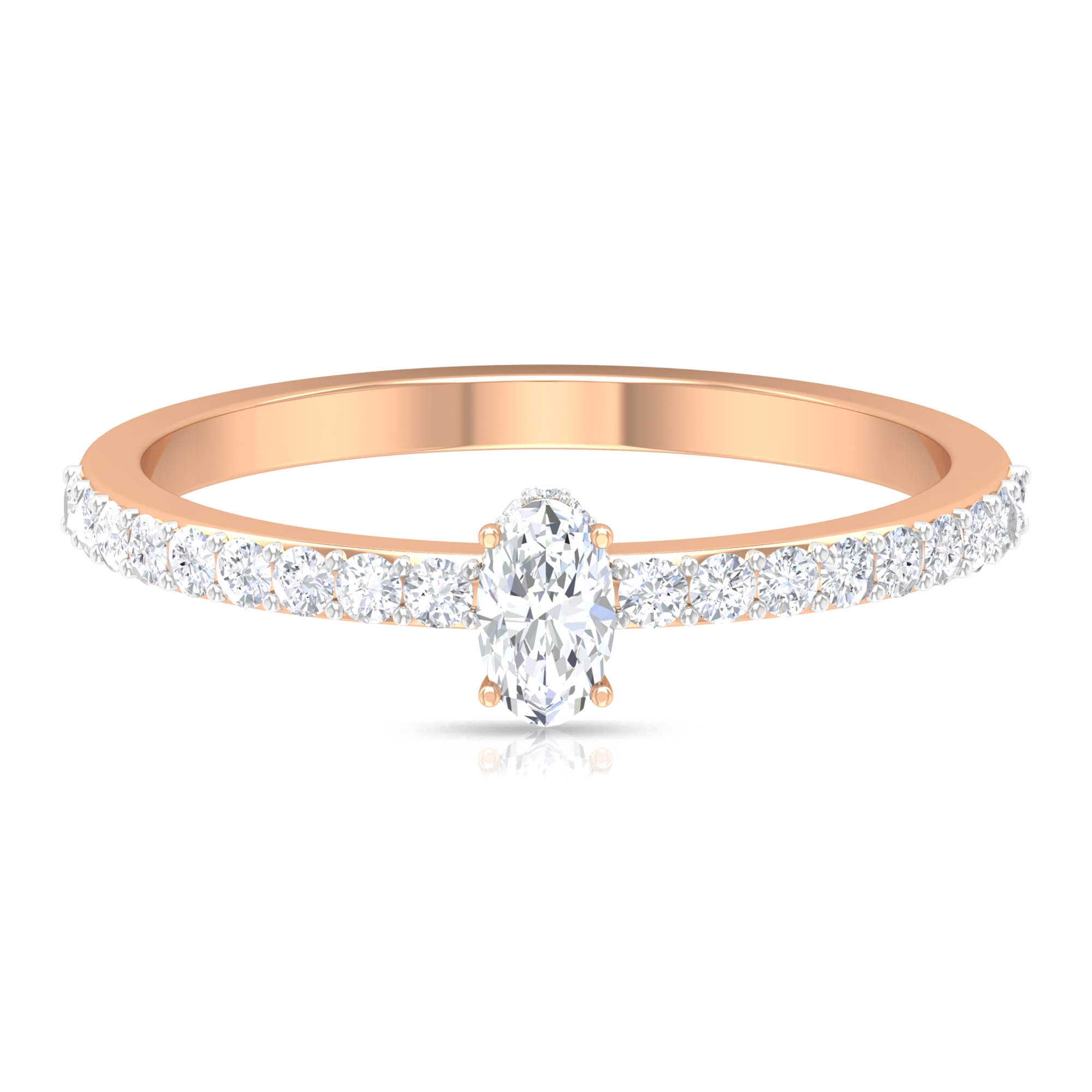 1/2 CT Oval Shape Solitaire Diamond Ring with Hidden Halo and Surface Prong Set