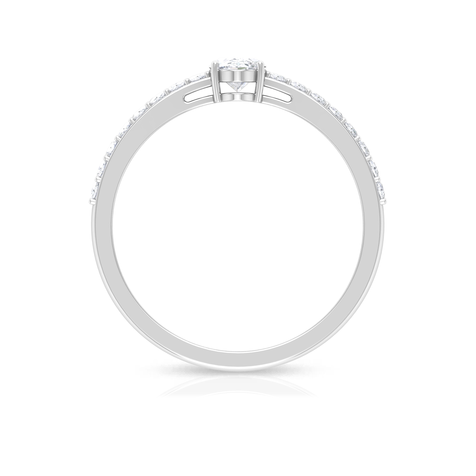 Four Prong Set 4X6 MM Oval Cut Diamond Solitaire Ring with Surface Prong Set Side Stones
