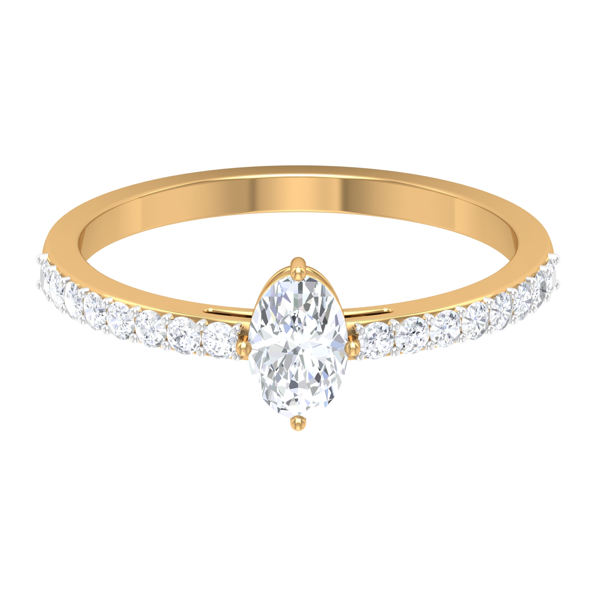 Four Prong Diagonal Set 4X6 MM Oval Cut Solitaire Diamond Ring with Surface Prong Set Side Stones