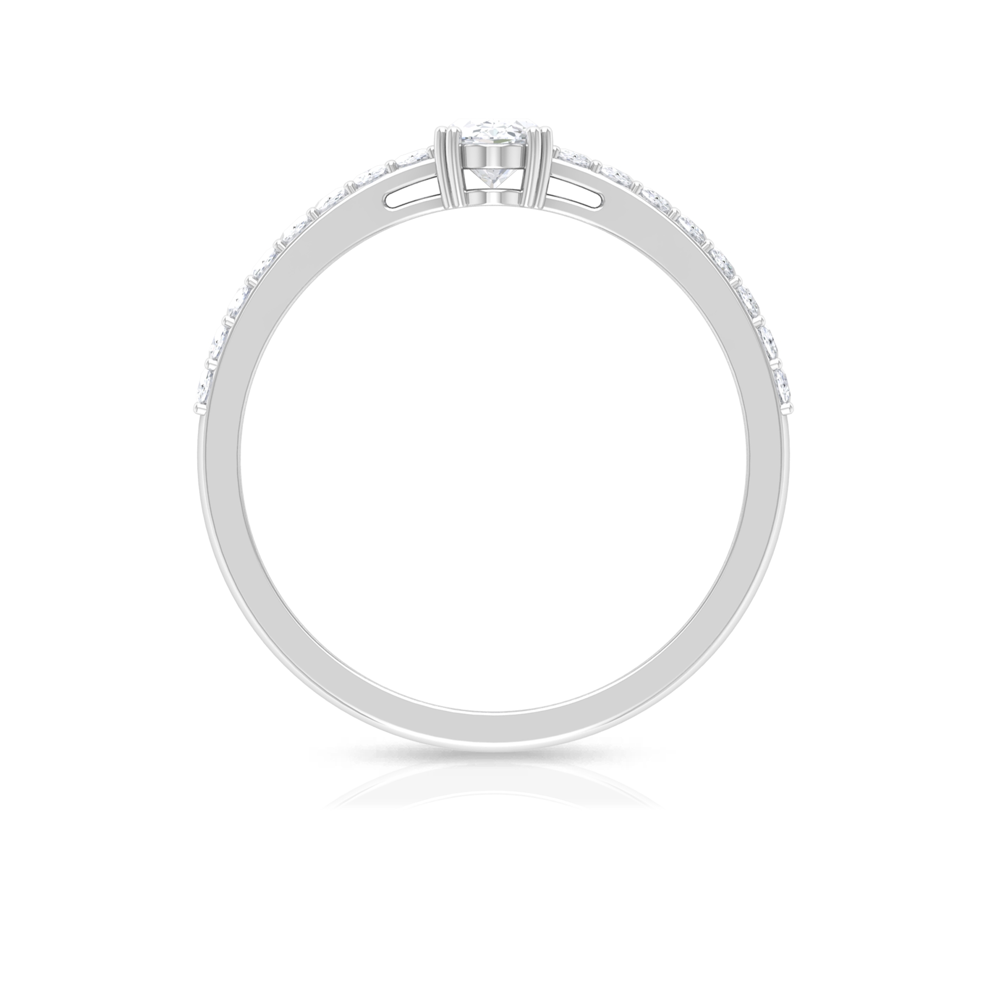 4X6 MM Oval Cut Diamond Solitaire Ring in Double Prong Set with Surface Prong Set Side Stones
