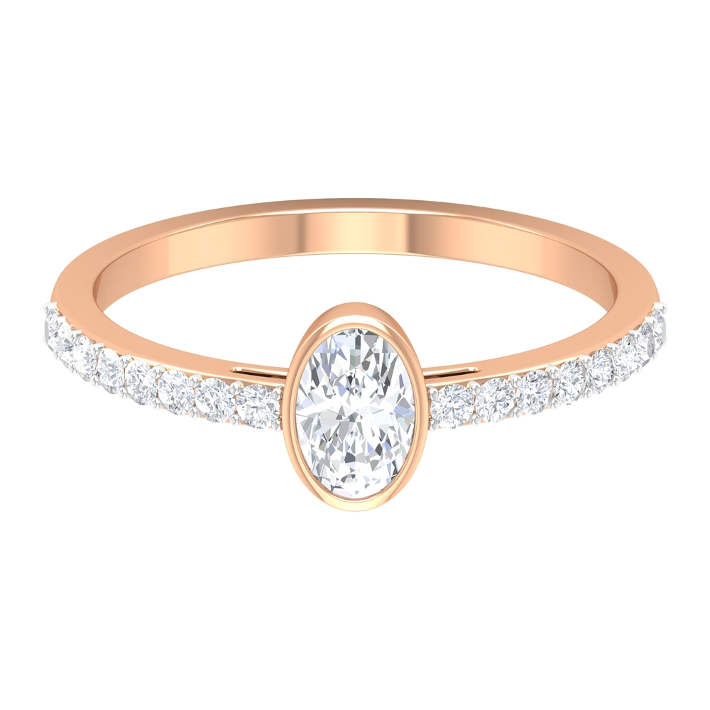 Bezel Set 4X6 MM Oval Cut Diamond Solitaire Ring with Surface Prong Set Side Stones