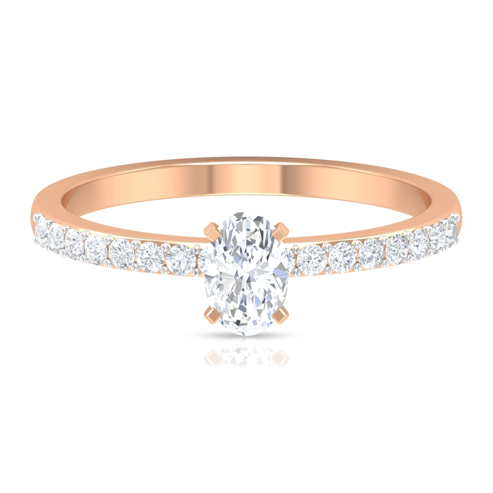 4X6 MM Oval Cut Solitaire Diamond Ring with Surface Prong Set Side Stones with Surprise Style