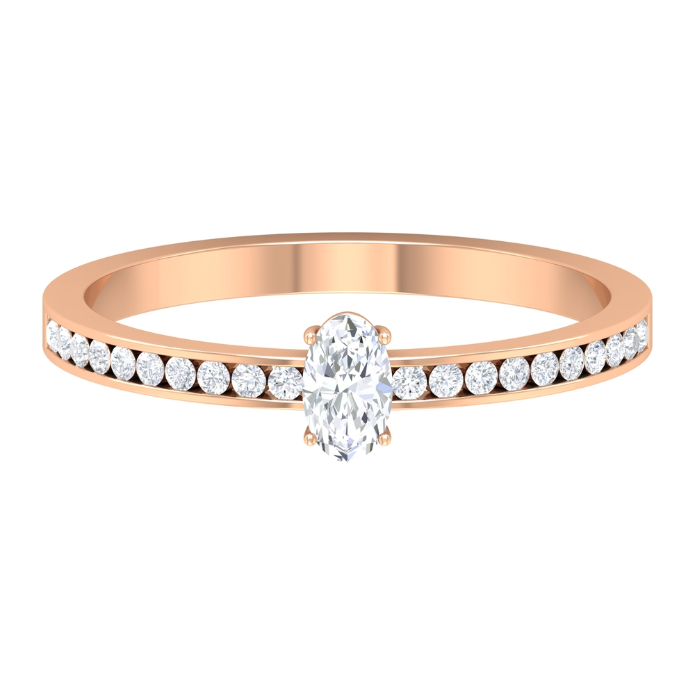 1/2 CT Diamond Solitaire Ring in 4 Prong Setting with Channel Set Diamond