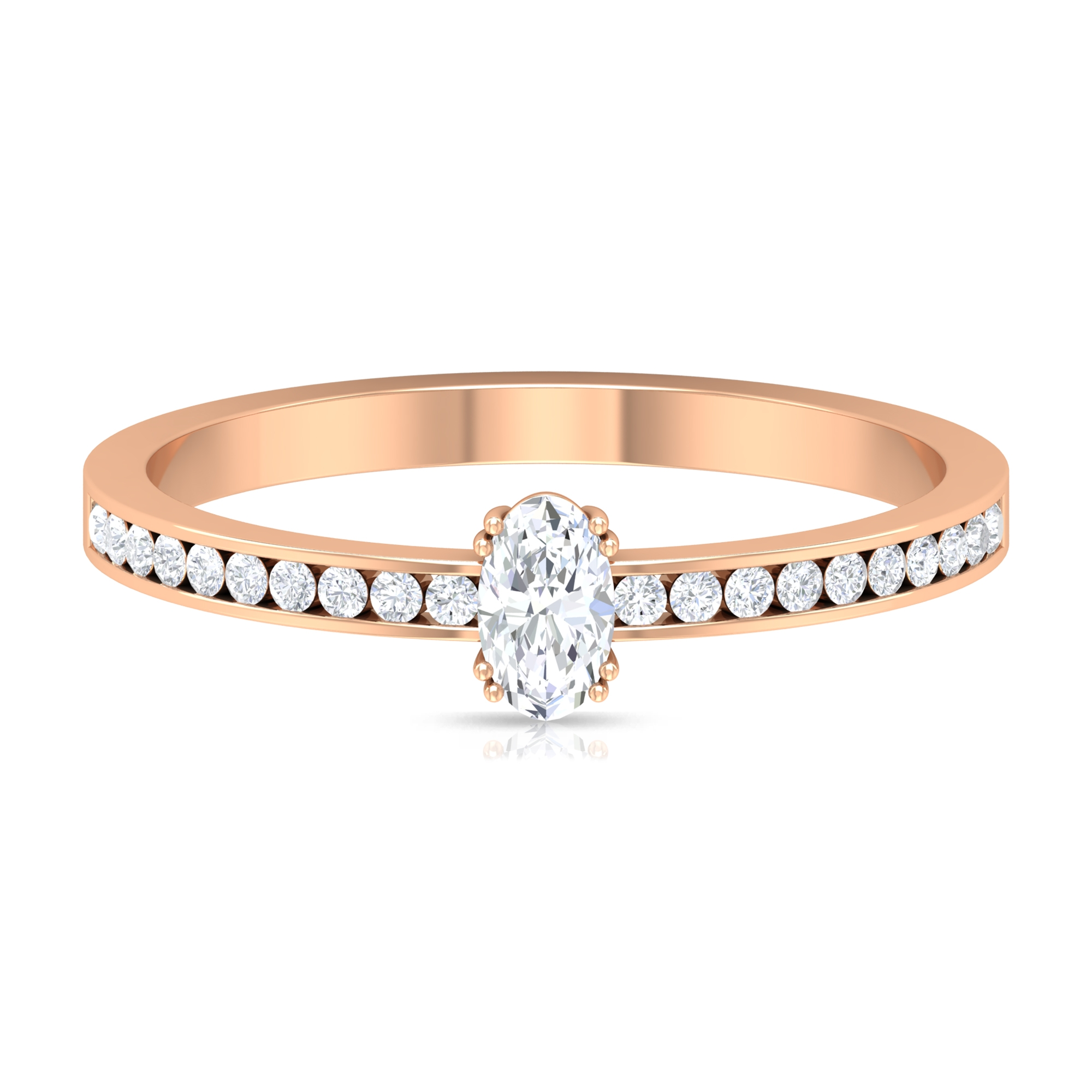1/2 CT Diamond Solitaire Ring in Double Prong Setting with Channel Set Diamond