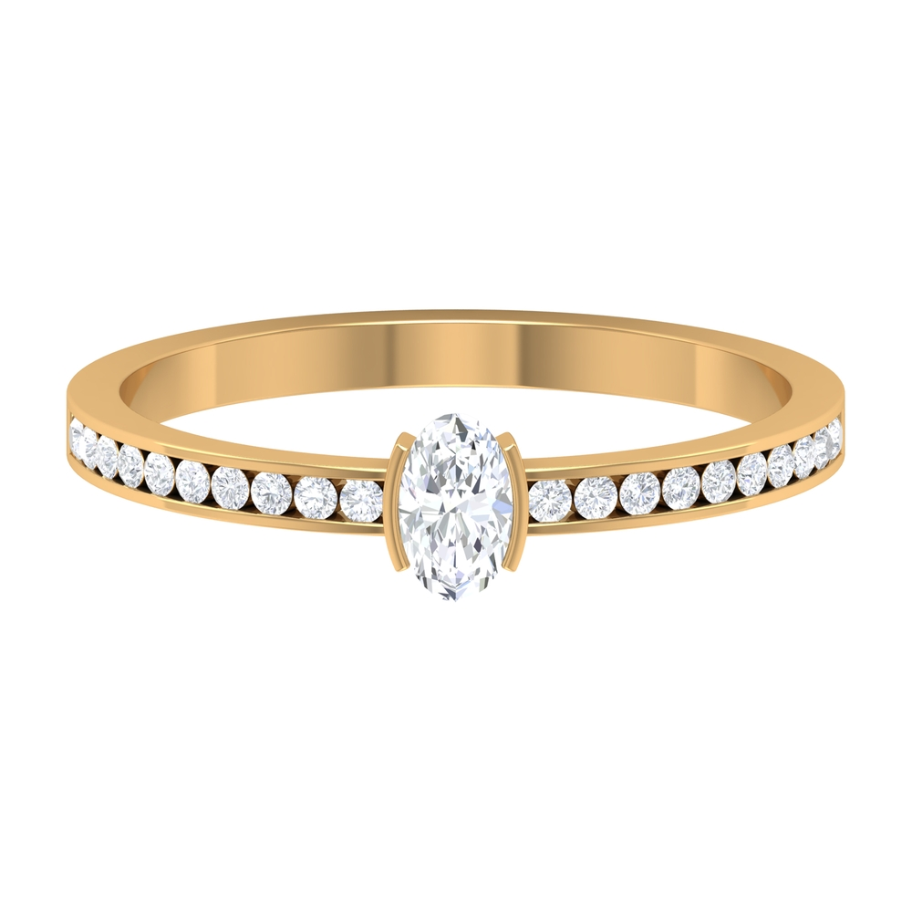 1/2 CT Diamond Solitaire Ring in Half Bezel Setting with Channel Set Diamond