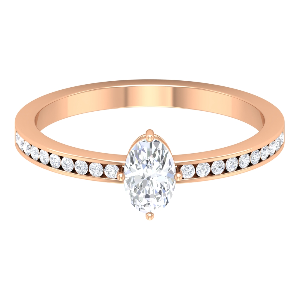 4X6 MM Oval Cut Diamond Solitaire Ring in Four Prong Diagonal Set with Channel Set Side Stones