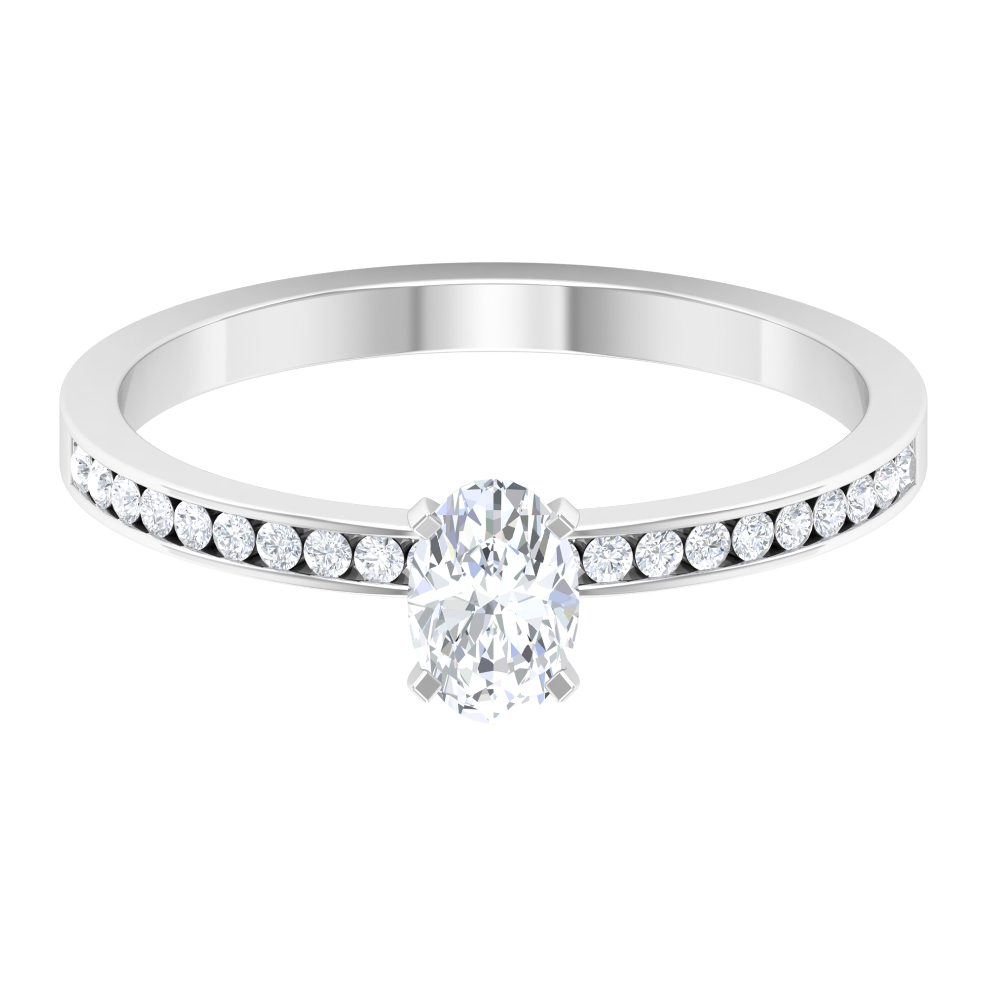 Square Prong Set 4X6 MM Oval Cut Solitaire Diamond Ring with Channel Set Side Stones