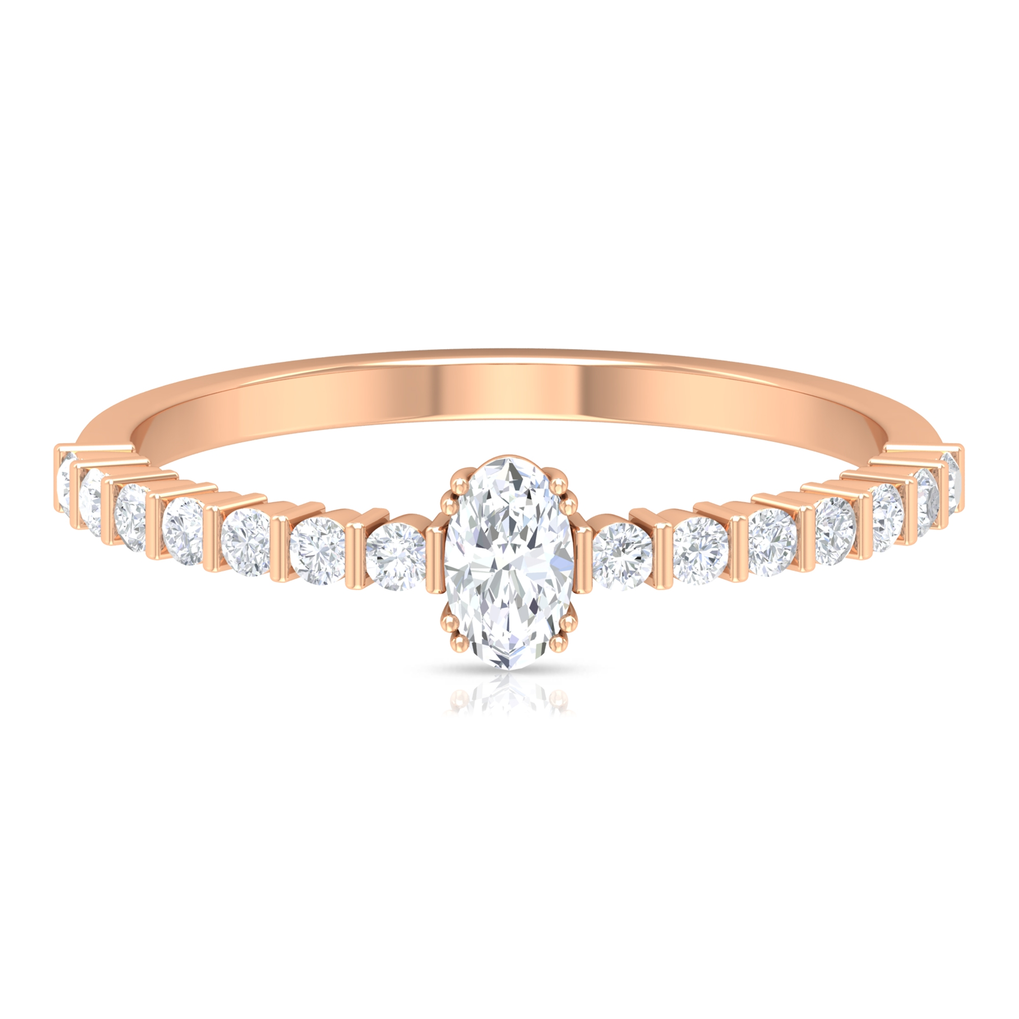 1/2 CT Oval Shape Solitaire Diamond Ring in Double Prong Setting with Bar Set Diamond