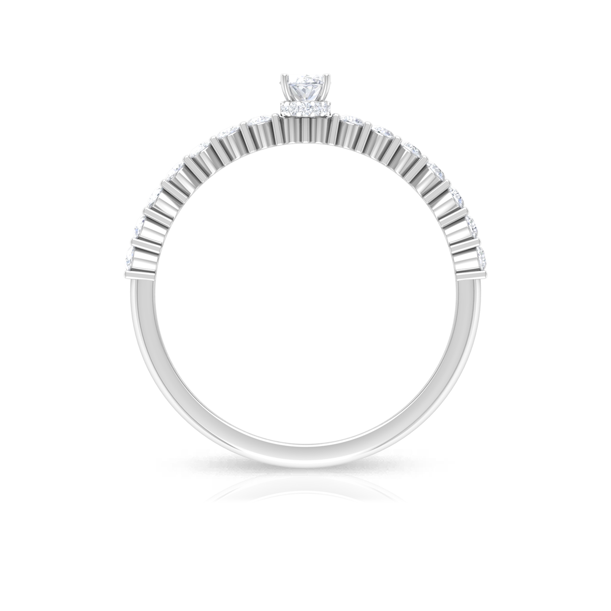 1/2 CT Oval Shape Solitaire Diamond Ring in Hidden Halo with Bar Set Diamond