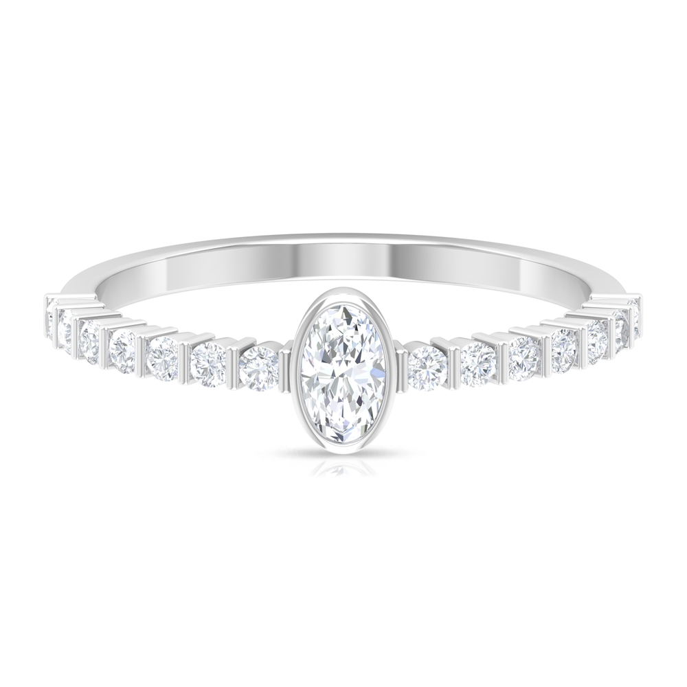 1/2 CT Oval Shape Solitaire Diamond Ring in Bezel Setting with Bar Set Diamond