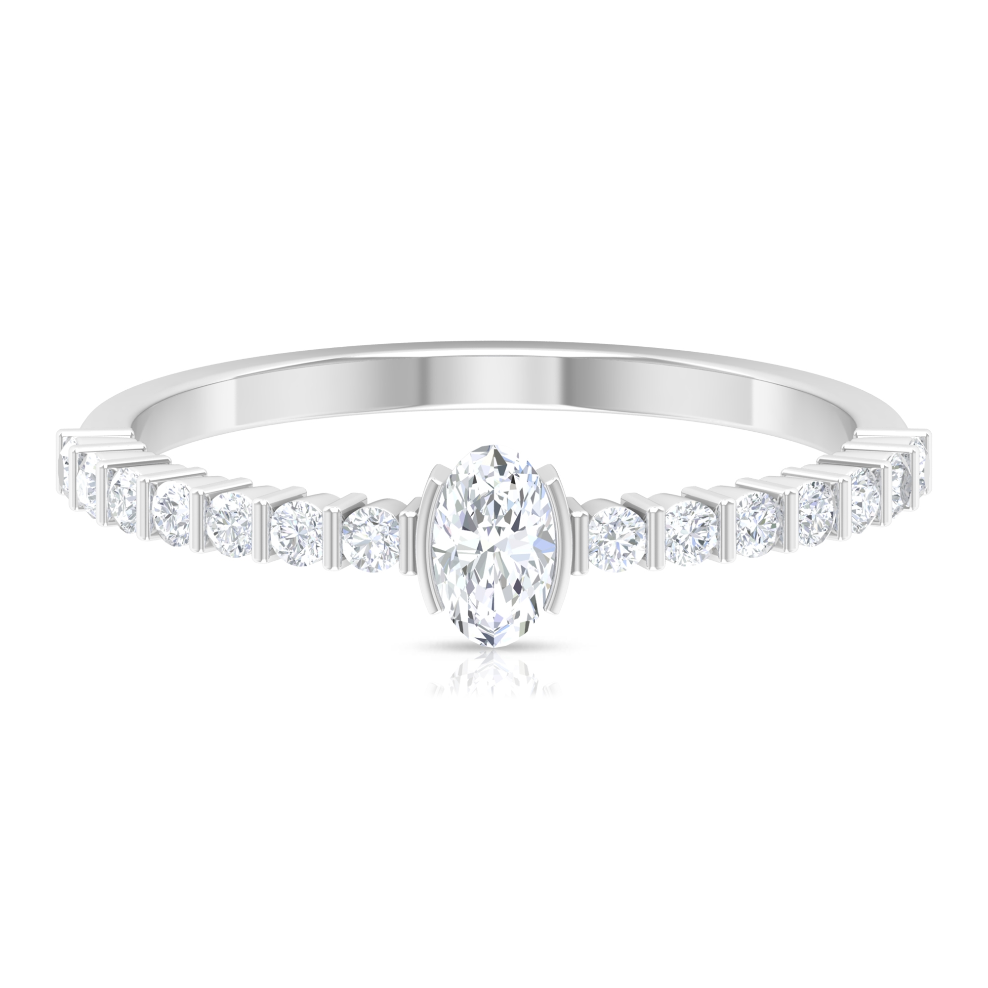 1/2 CT Oval Shape Solitaire Diamond Ring in Half Bezel Setting with Bar Set Diamond