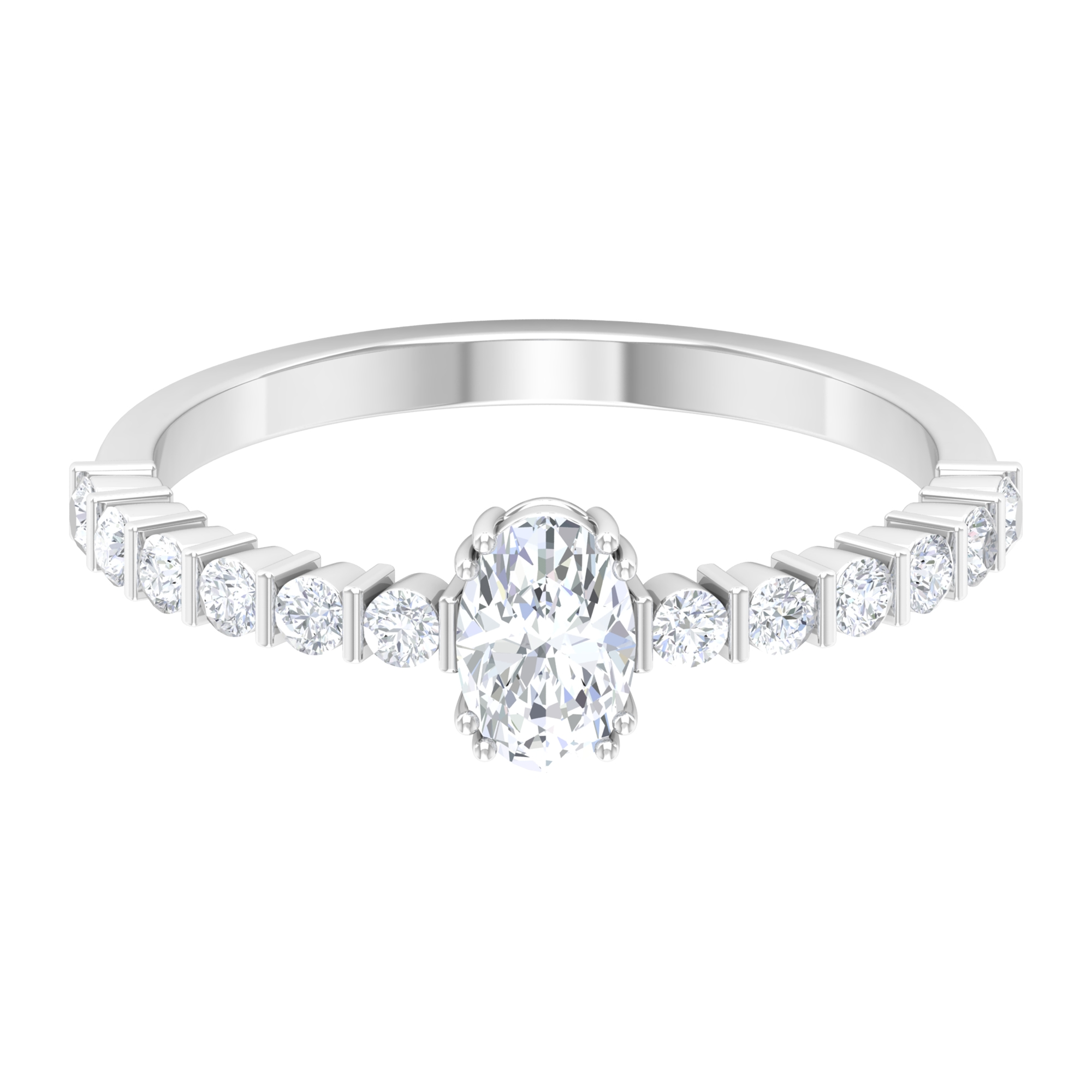 4X6 MM Oval Cut Diamond Solitaire Ring in Double Prong Set with Bar Set Side Stones