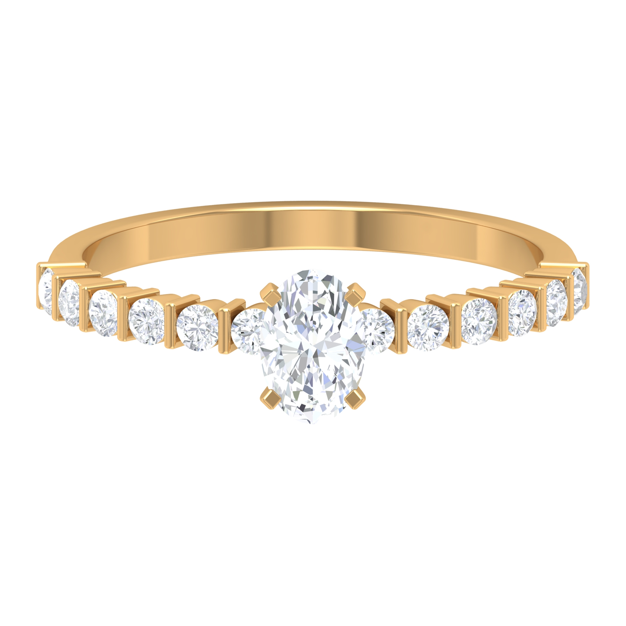 Square Prong Set 4X6 MM Oval Cut Diamond Solitaire Ring with Bar Set Side Stones