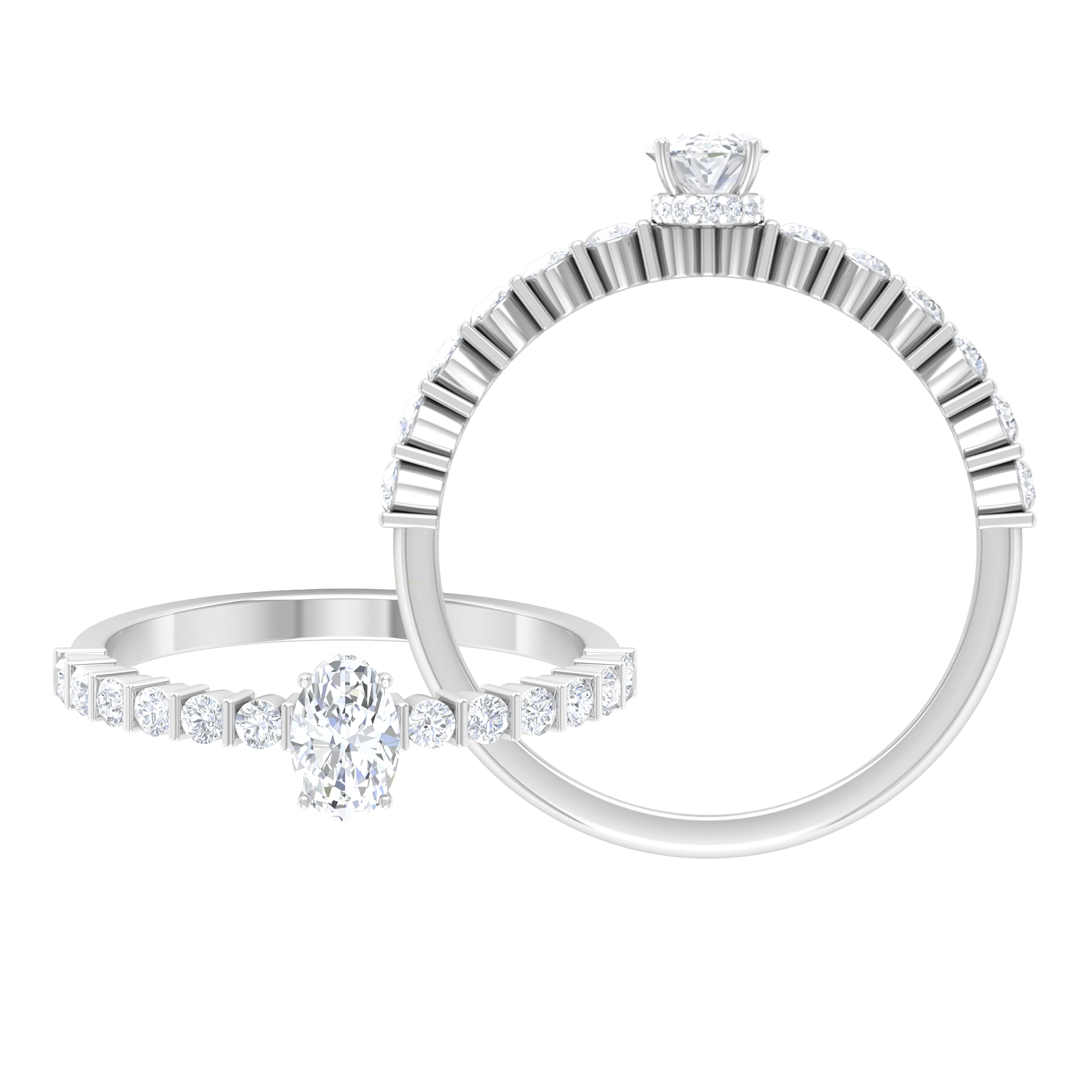 4X6 MM Oval Cut Diamond Solitaire Ring with Bar Set Side Stones and Hidden Halo Style