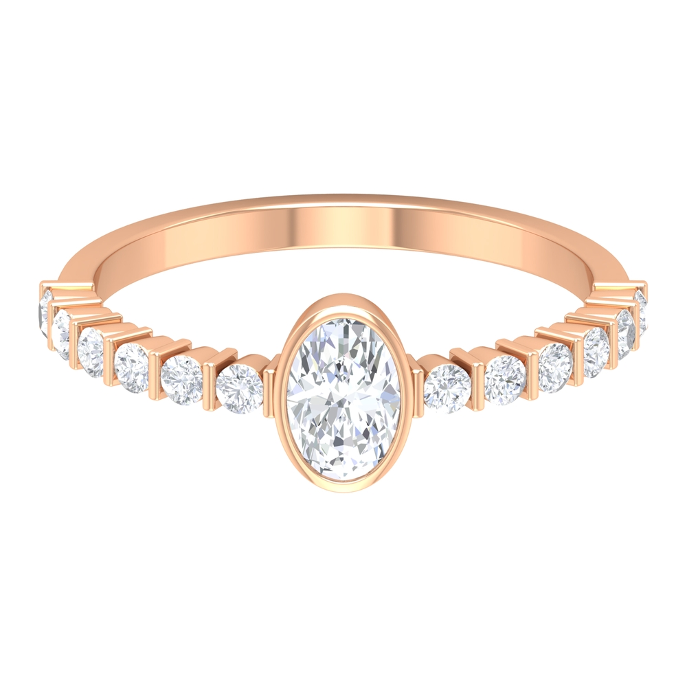 4X6 MM Oval Cut Diamond Solitaire Ring in Bezel Set with Bar Set Side Stones