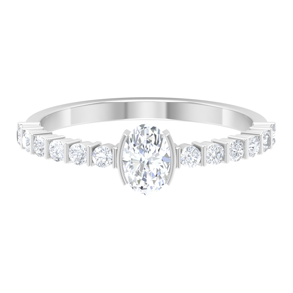 Half Bezel Set 4X6 MM Oval Cut Solitaire Diamond Ring with Bar Set Side Stones