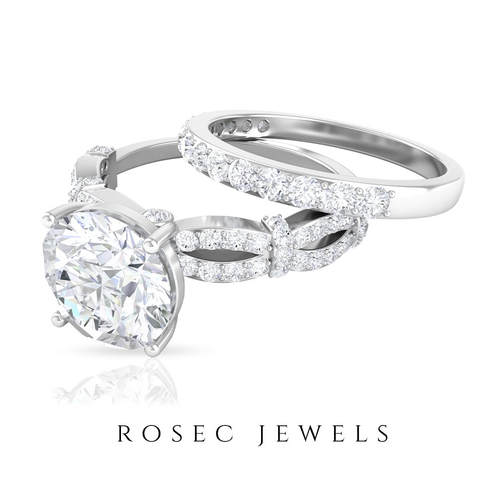 3 CT Moissanite Solitaire Engagement Rings and Wedding Band Set