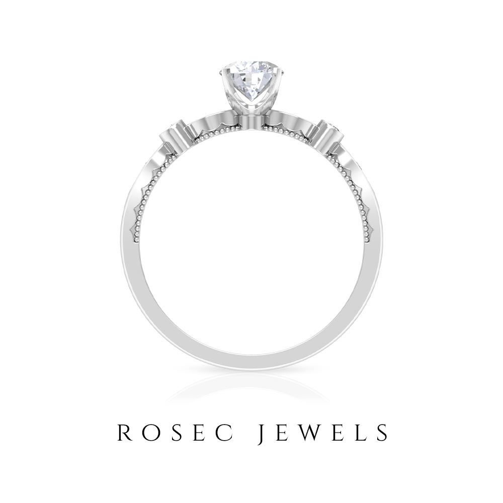 3/4 CT Diamond Minimal Engagement Ring with Side Stones