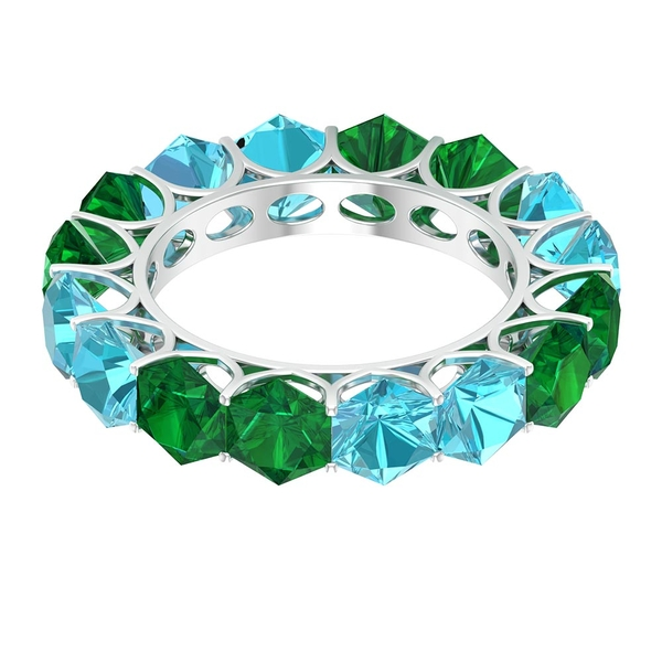 8.25 CT Lab Created Emerald and Swiss Blue Topaz Alternate Eternity Ring