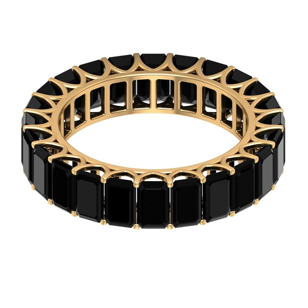 8.50 CT Octagon Cut Black Spinel Eternity Band Ring