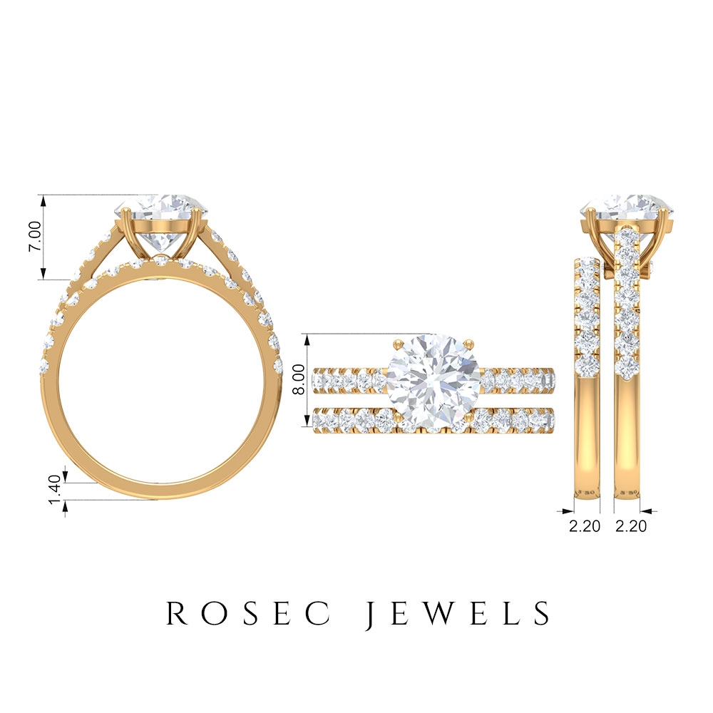 3 CT Moissanite Solitaire Ring and Enhancer Ring Set