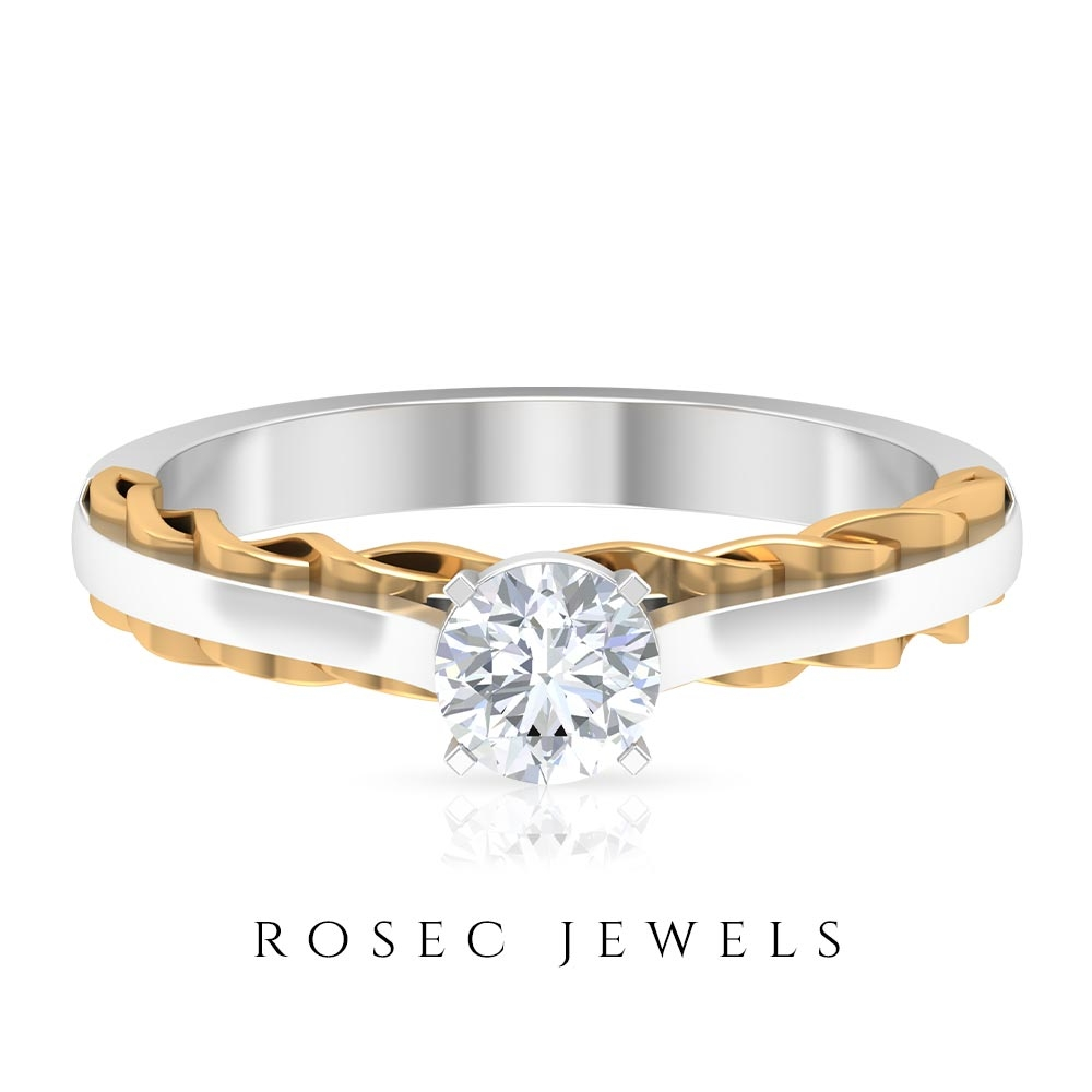 1/2 CT Diamond Solitaire Ring in Two Tone Gold
