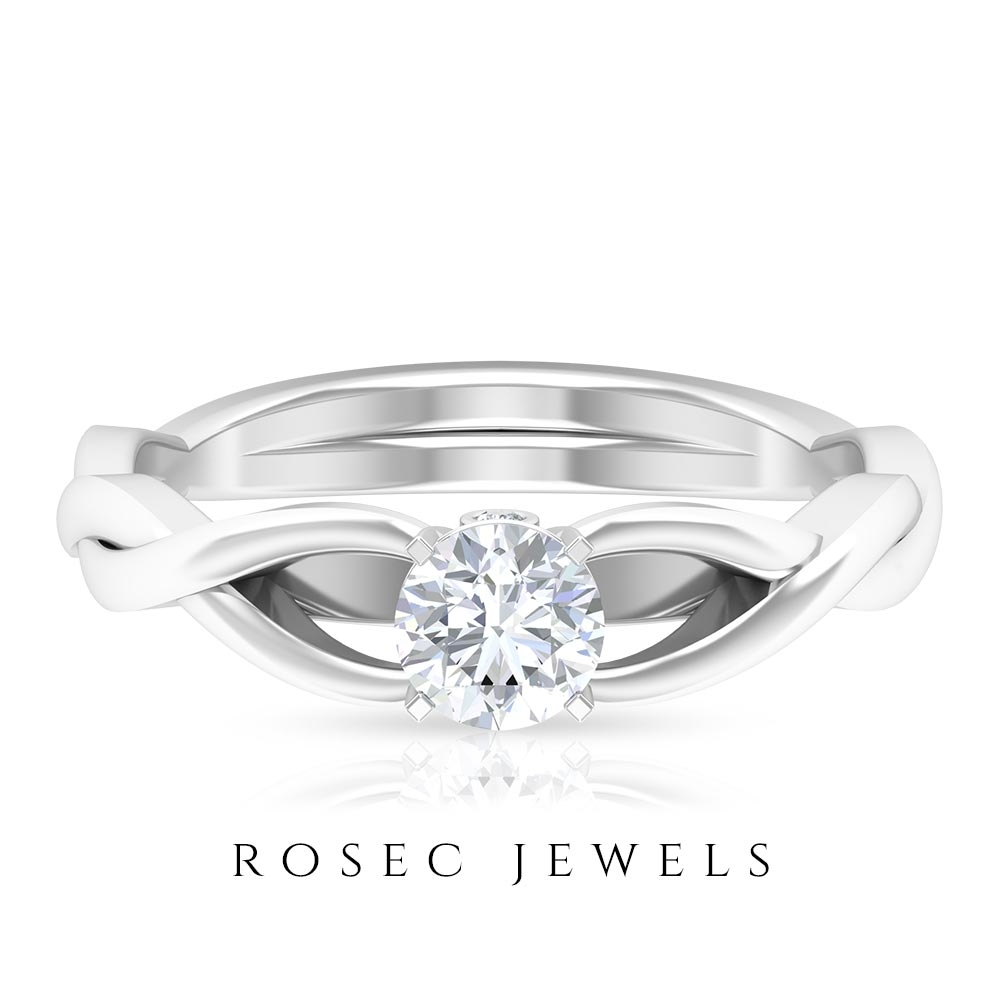 1/2 CT Diamond Solitaire Spiral Shank Ring