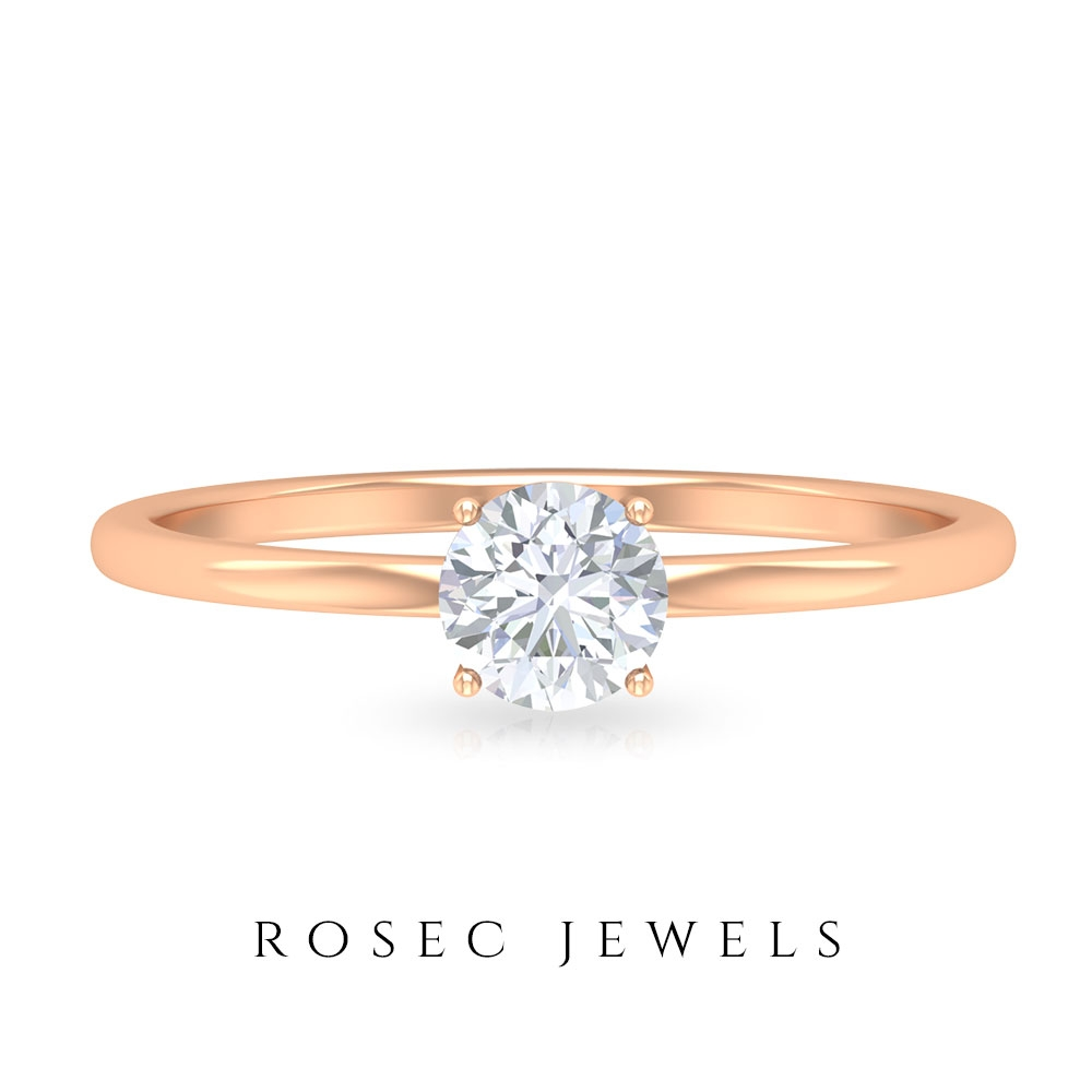 1/2 CT Round Cut Moissanite Simple Solitaire Ring