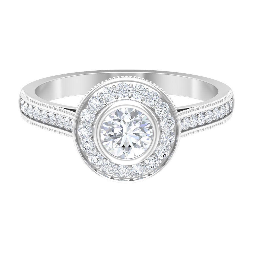 1 CT Diamond Engagement Ring with Crown Shank and Milgrain Details