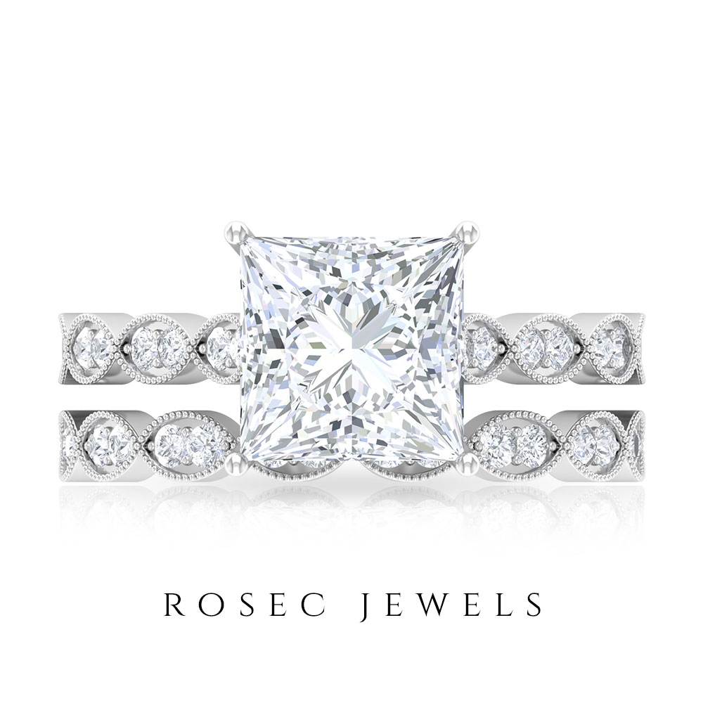 3.25 CT Princess Cut Moissanite Solitaire Ring with Wedding Band