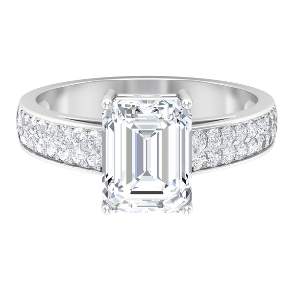 3 CT Octagon Cut Moissanite Side Stones Solitaire Ring