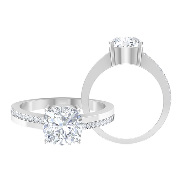 2.25 CT Moissanite Side Stone Solitaire Ring in Two Tone Gold