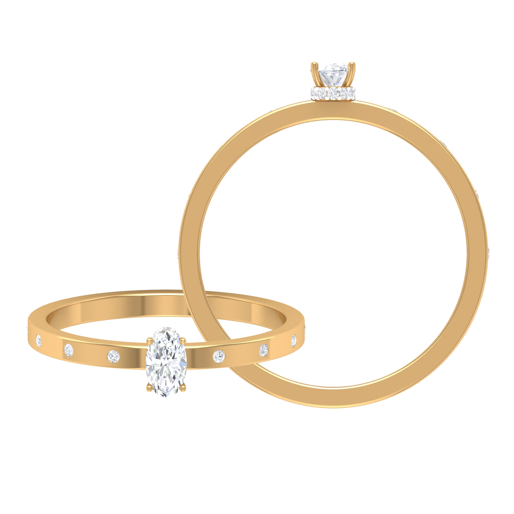 1/4 CT Oval Shape Solitaire Diamond Ring in Hidden Halo with Sleek Accent Diamond